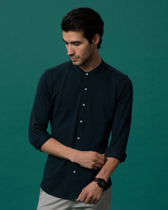 Shop Navy Blue Mandarin Collar Full Sleeve Pique Shirt-Back