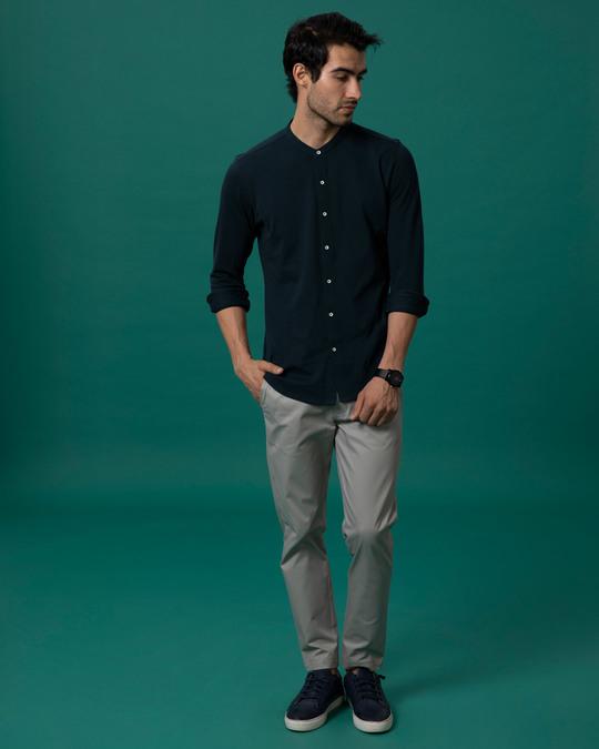 Shop Navy Blue Mandarin Collar Full Sleeve Pique Shirt