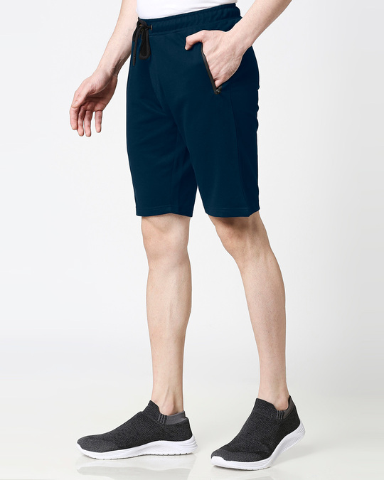 Shop Navy Blue Casual Shorts With Zipper-Back