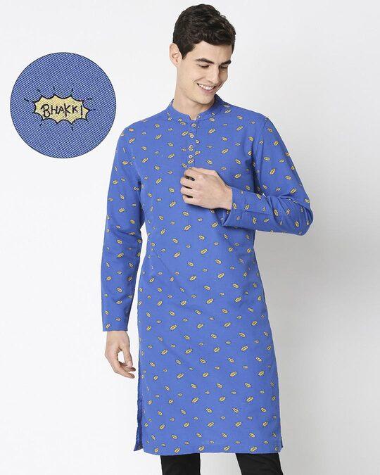 Shop Navy Blue Men's Indo Fusion Printed Long Kurta-Front