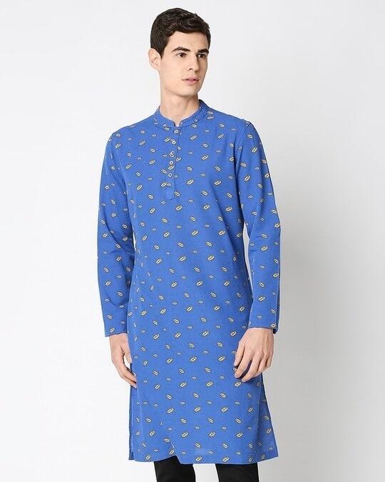 Shop Navy Blue Men's Indo Fusion Printed Long Kurta-Back