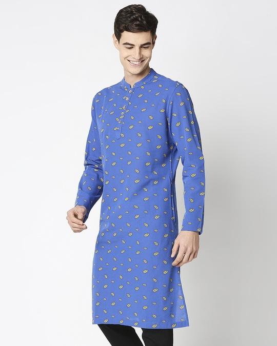 Shop Navy Blue Men's Indo Fusion Printed Long Kurta-Design