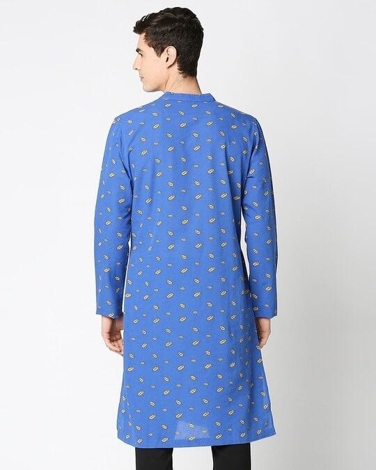 Shop Navy Blue Men's Indo Fusion Printed Long Kurta-Full