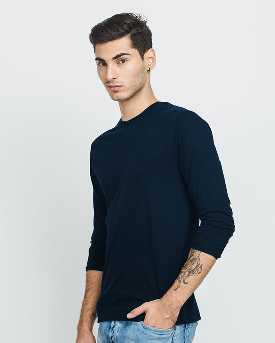 Navy Blue Plain Long/Full Sleeve T-Shirts for Men Online at ...