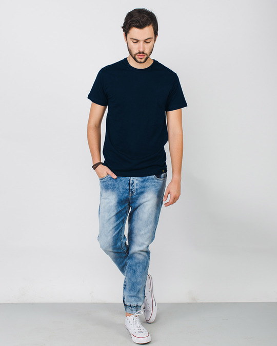 Navy Blue Plain T-Shirts for Men Online at Bewakoof.com