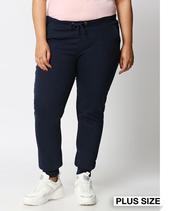 Shop Navy Blue Plus Size Casual Jogger Pants-Front