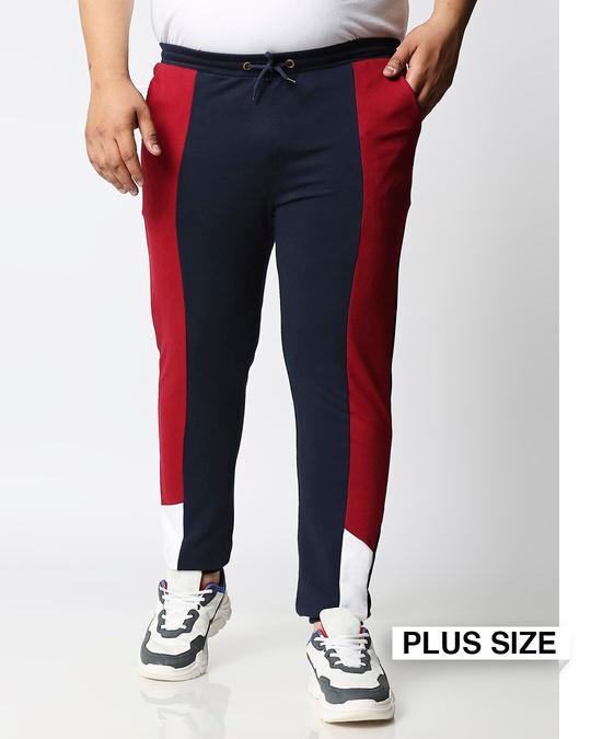 Shop Navy Blue Plus Size Color Block Jogger Pants-Front