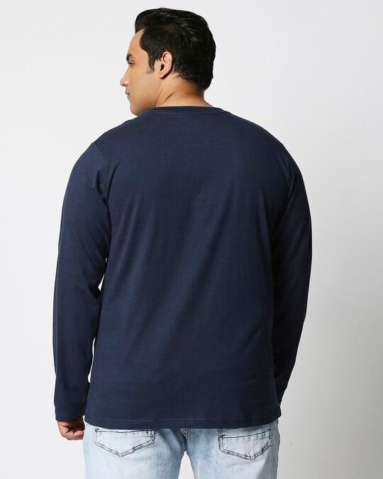 Shop Navy Blue Plus Size Full Sleeve T-Shirt-Design