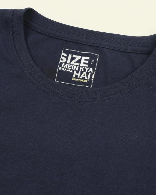 Shop Navy Blue Plus Size Full Sleeve T-Shirt