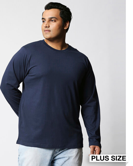 Shop Navy Blue Plus Size Full Sleeve T-Shirt-Front