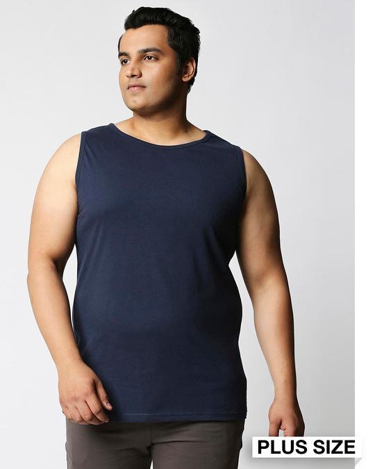 Shop Navy Blue Plus Size Vest-Front