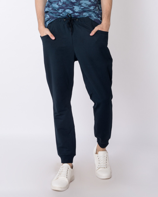 Shop Navy Blue Round Pocket Fleece Joggers-Front