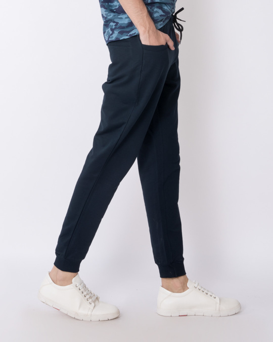 Shop Navy Blue Round Pocket Fleece Joggers-Back