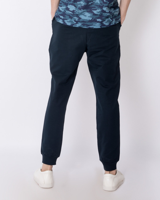Shop Navy Blue Round Pocket Fleece Joggers-Design