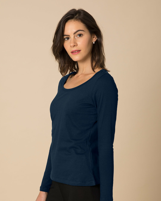 Shop Navy Blue Scoop Neck Full Sleeve T-Shirt-Back