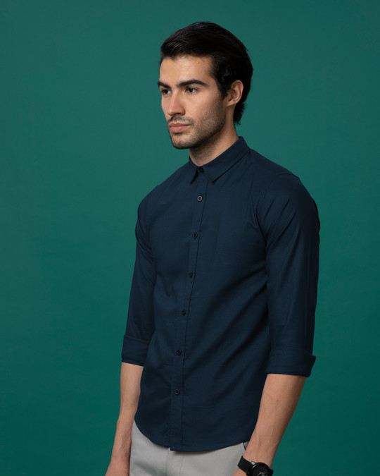 Shop Navy Blue Slim Fit Oxford Full Sleeve Shirt-Design