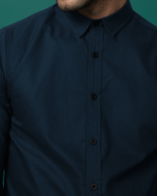 Shop Navy Blue Slim Fit Oxford Full Sleeve Shirt