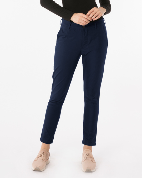 Shop Navy Blue Lightweight Slim Oxford Pants-Front