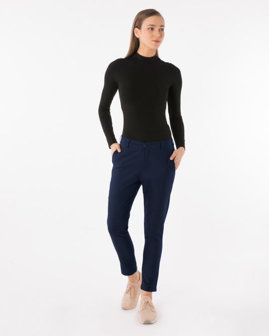 Shop Navy Blue Lightweight Slim Oxford Pants-Full