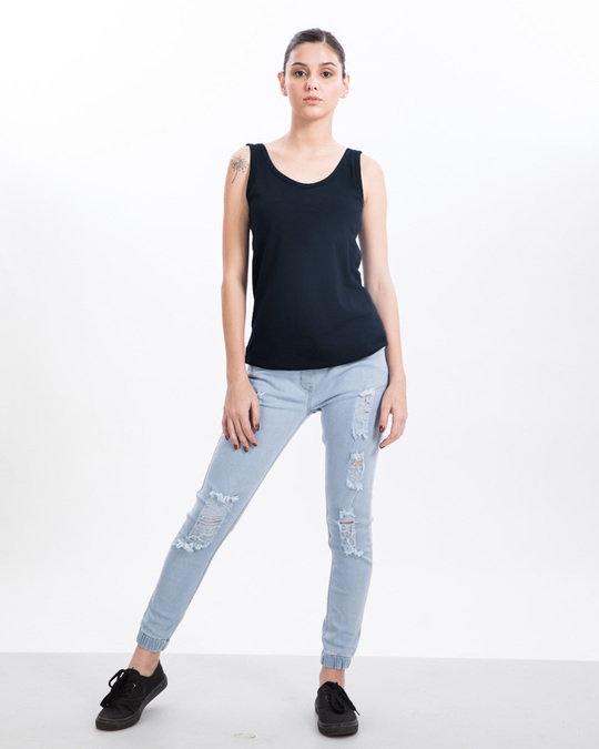 Shop Navy Blue Tank Top-Full