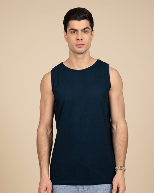 Shop Navy Blue Vest-Front