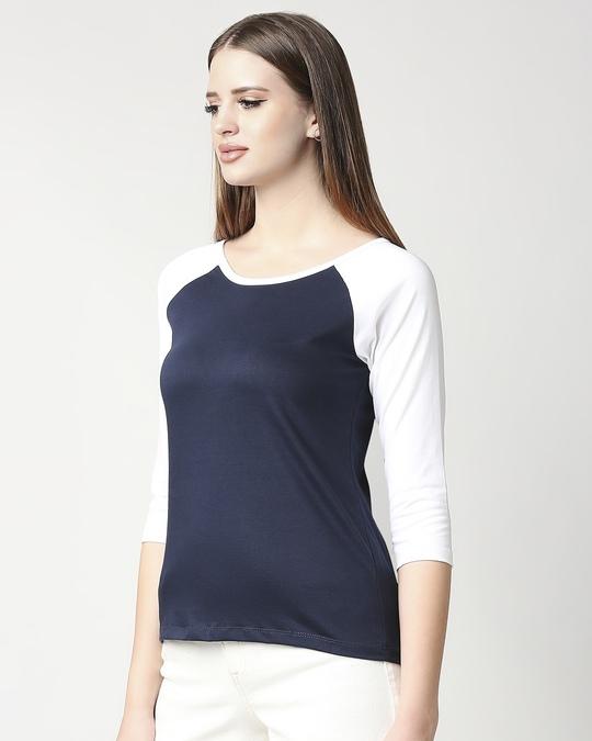 Shop Navy Blue-White 3/4th Sleeve Raglan T-Shirt-Design