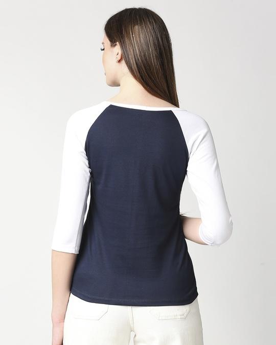 Shop Navy Blue-White 3/4th Sleeve Raglan T-Shirt-Full