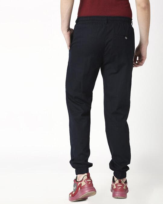 Shop Navy Blue Cotton Joggers Pants-Full