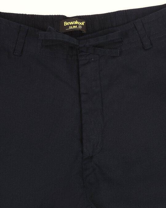 Shop Navy Blue Cotton Joggers Pants