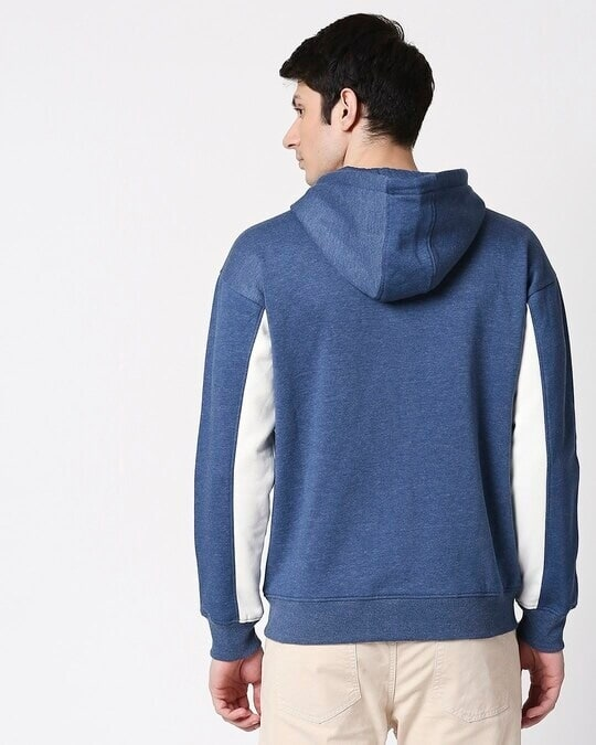 Shop Navy Melange Chest Panel Zipper Hoodie-Full