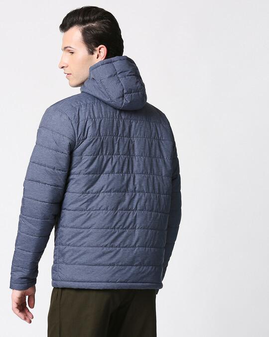 Shop Navy Melange Chill Block Melange Puffer Jacket-Full