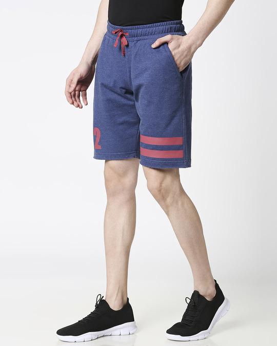 Shop Navy melange Men Shorts-Back