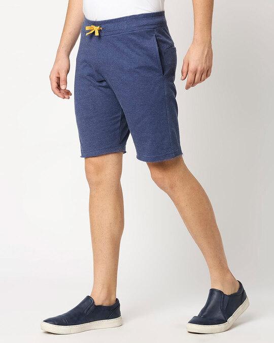 Shop Navy Melange Men Shorts-Design