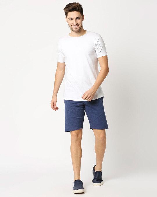 Shop Navy Melange Men Shorts