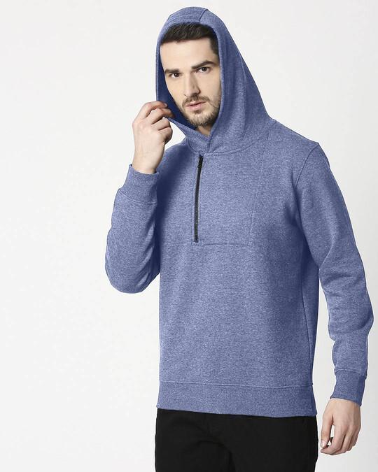 Shop Navy Melange Stylised Zip Panel Hoodie Sweatshirt-Design