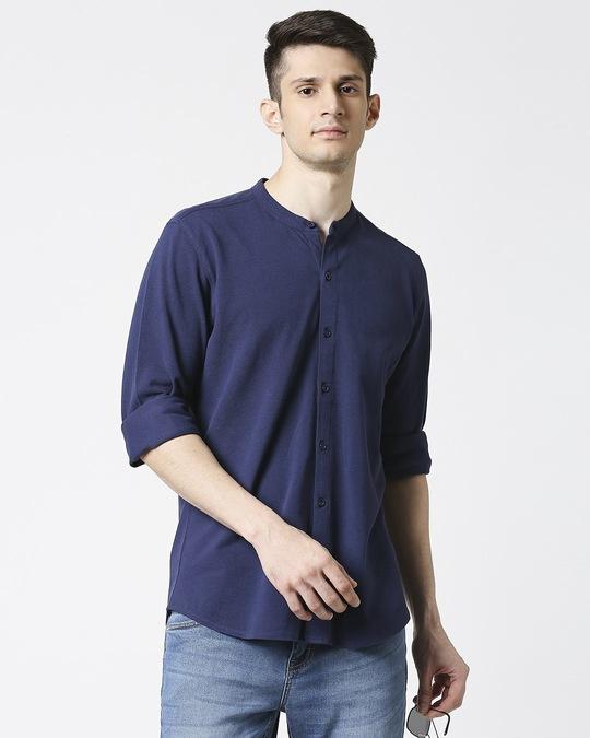 Shop Comfort Pique Knit Navy Shirt-Front