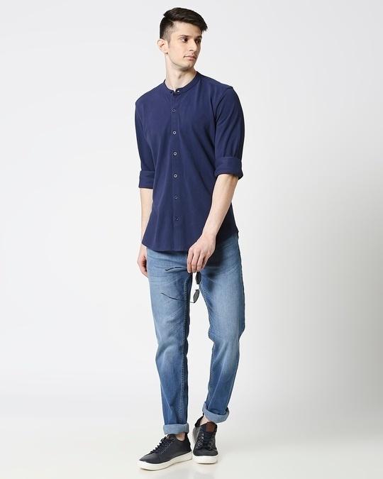 Shop Comfort Pique Knit Navy Shirt