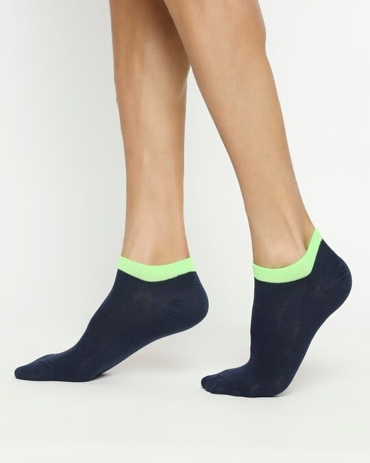 Shop Navy Neon No Show Socks-Design