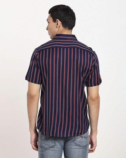 Shop Navy Blue Stripe Half Sleeve Shirt-Full