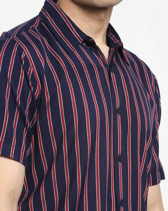 Shop Navy Blue Stripe Half Sleeve Shirt