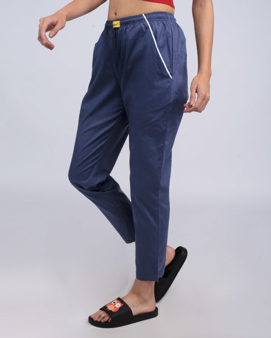 Shop Nebula Blue Plain Pyjama-Full