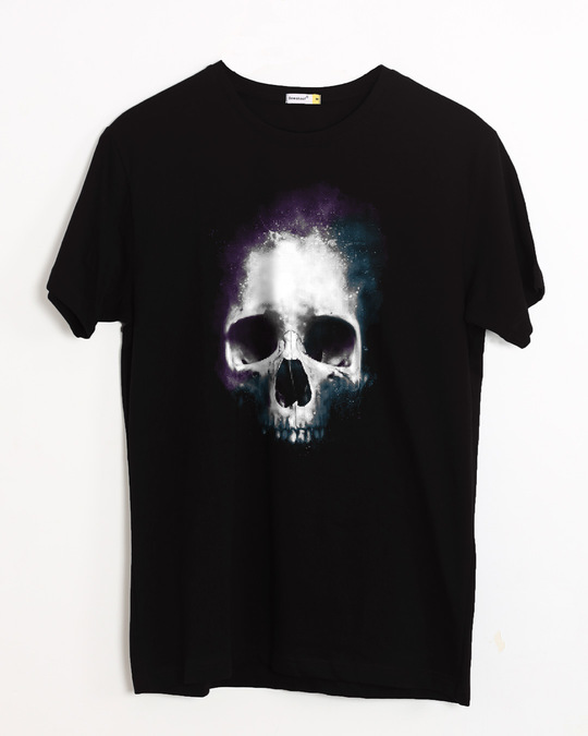 Shop Nebula Skull Half Sleeve T-Shirt-Front