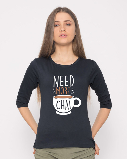 Shop Need Chai Round Neck 3/4th Sleeve T-Shirt-Front