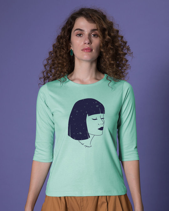 Shop Need Space Galaxy Girl Round Neck 3/4th Sleeve T-Shirt-Front