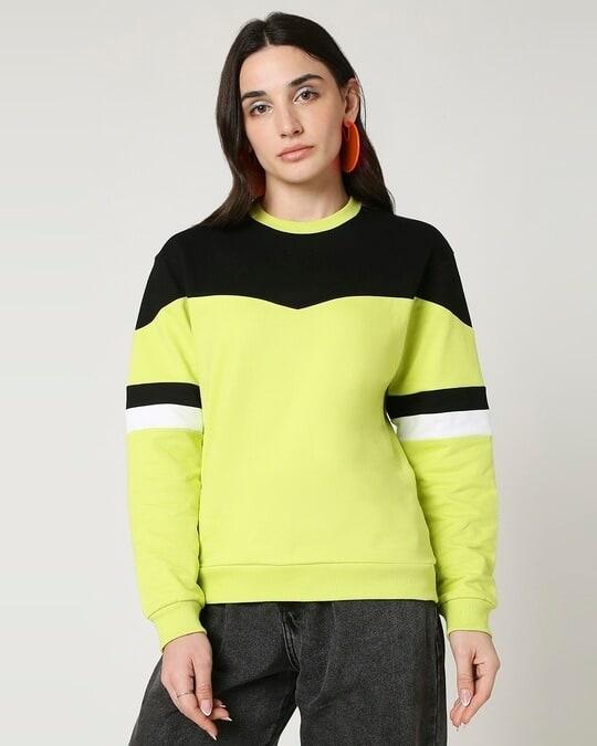 Shop Arcade Green Color Block Sweater-Design