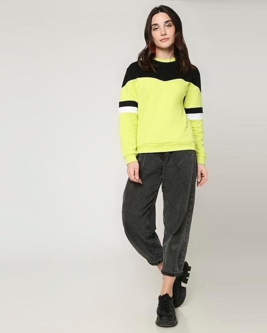 Shop Arcade Green Color Block Sweater
