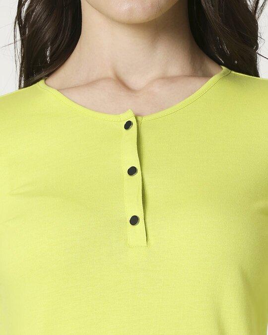 Shop Arcade Green Full Sleeve Henley T-Shirt
