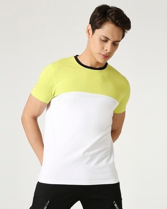 Shop Arcade Green Half Sleeve Color Block T-Shirt-Front