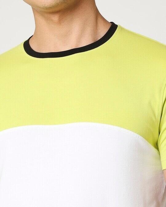 Shop Arcade Green Half Sleeve Color Block T-Shirt