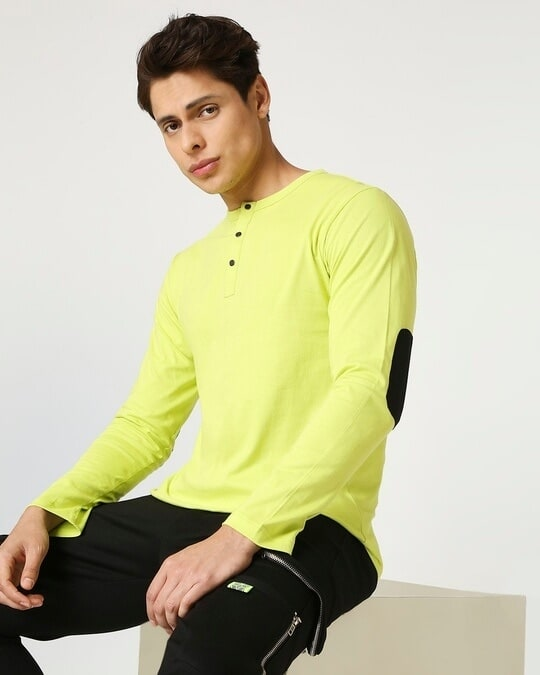 Shop Arcade Green Henley Full Sleeve T-Shirt-Front